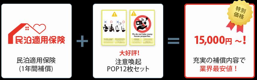 民泊適用保険(1年間補償)+大好評!注意喚起POP12枚セット=特別価格15,000円~!充実の補償内容で業界最安値!