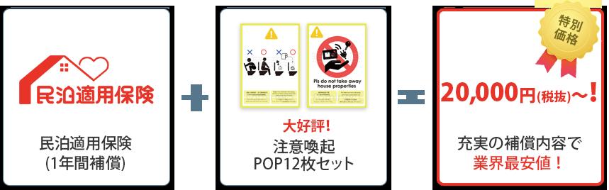 民泊適用保険(1年間補償)+大好評!注意喚起POP12枚セット=特別価格20,000円(税抜)~!充実の補償内容で業界最安値!