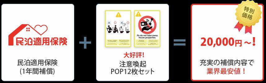 民泊適用保険(1年間補償)+大好評!注意喚起POP12枚セット=特別価格20,000円~!充実の補償内容で業界最安値!